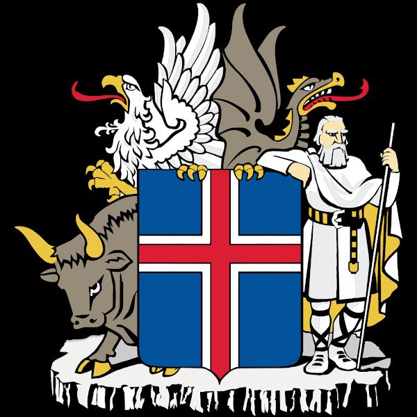 Logo Gambar Lambang Simbol Negara Islandia PNG JPG ukuran 600 px