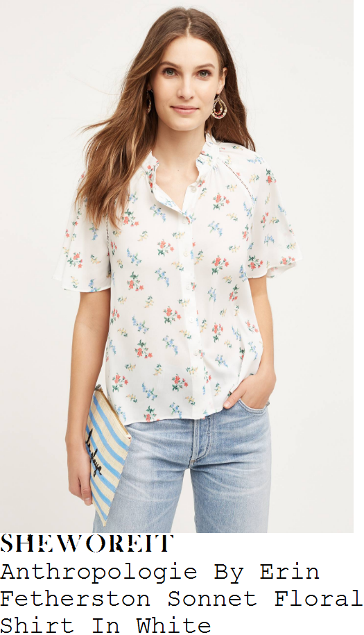 holly-willoughby-anthropologie-by-erin-fetherston-sonnet-white-floral-print-half-sleeve-shirt