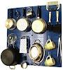 Wall Control Kitchen Pegboard Organizer Pots and Pans Pegboard Pack, Blue/White