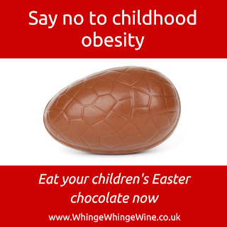 Say no to childhood obesity: Eat you children's Easter chocolate now parenting meme