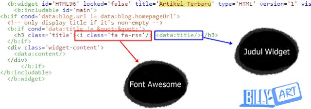 Kode Widget Artikel Terbaru, Cara Memasang Font Awesome Pada Judul Widget Blog