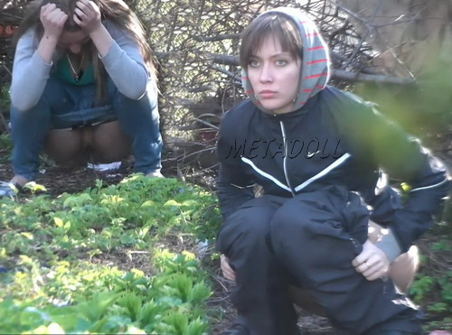 Hiding Place WC 16 (Girls takes a piss squatting near the bushes in this voyeur video)