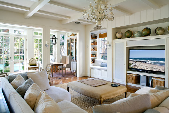 Casual European inspired farmhouse family room with Belgian linen by Giannetti Home