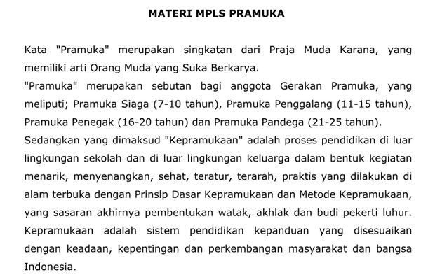 Materi MPLS 2018 Pramuka