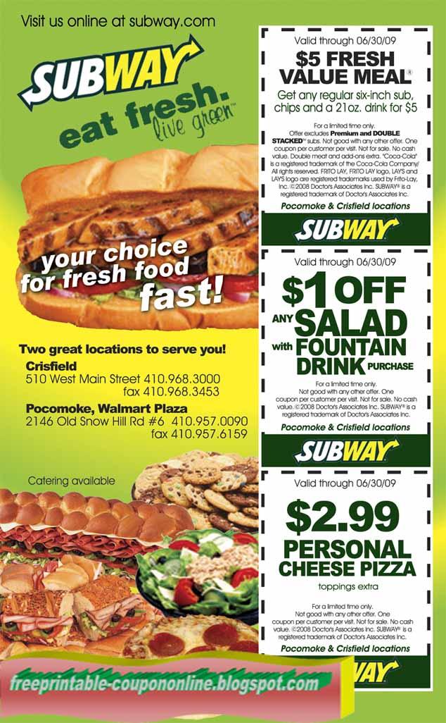 Subway sandwich coupons april 2019