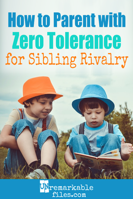 Sibling fighting can quickly spiral out of control. Written by a mom of 6, here's how to stop the cycle of sibling rivalry, establish a 'zero tolerance policy' for sibling fighting, and other tips for helping sisters and brothers to get along. #siblings #siblingrivalry #improving #parenting #discipline #unremarkablefiles
