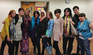 2012: Sarah, Kristin Otts, Kristin Halbrook, Phoebe North, Somaiya, Kate, Kirsten, Amy Lukavics, Veronica Roth, and Kody Keplinger at a signing and retreat in Washington state