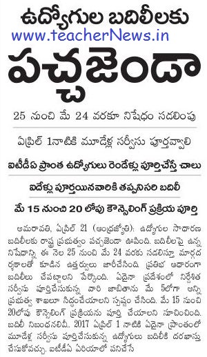 AP Employees Transfers Guidelines 2017 AP Employees Transfers Schedule GO 64