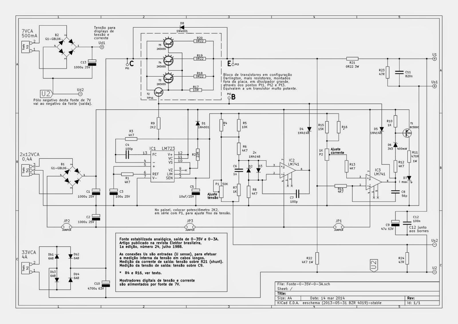 Eletrônica Campo Elétrico*: Fonte regulável de 0 a 40V.
