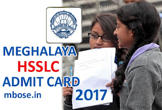 MBOSE 12th HSSLC Admit Card 2017, Meghalaya Class 12 Admit Card 2017