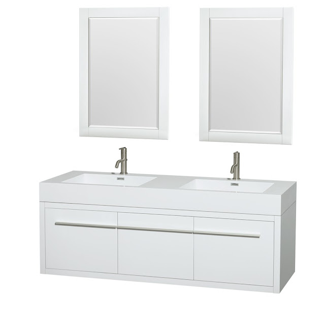 60 inch Floating White Finish Bathroom Vanity Set