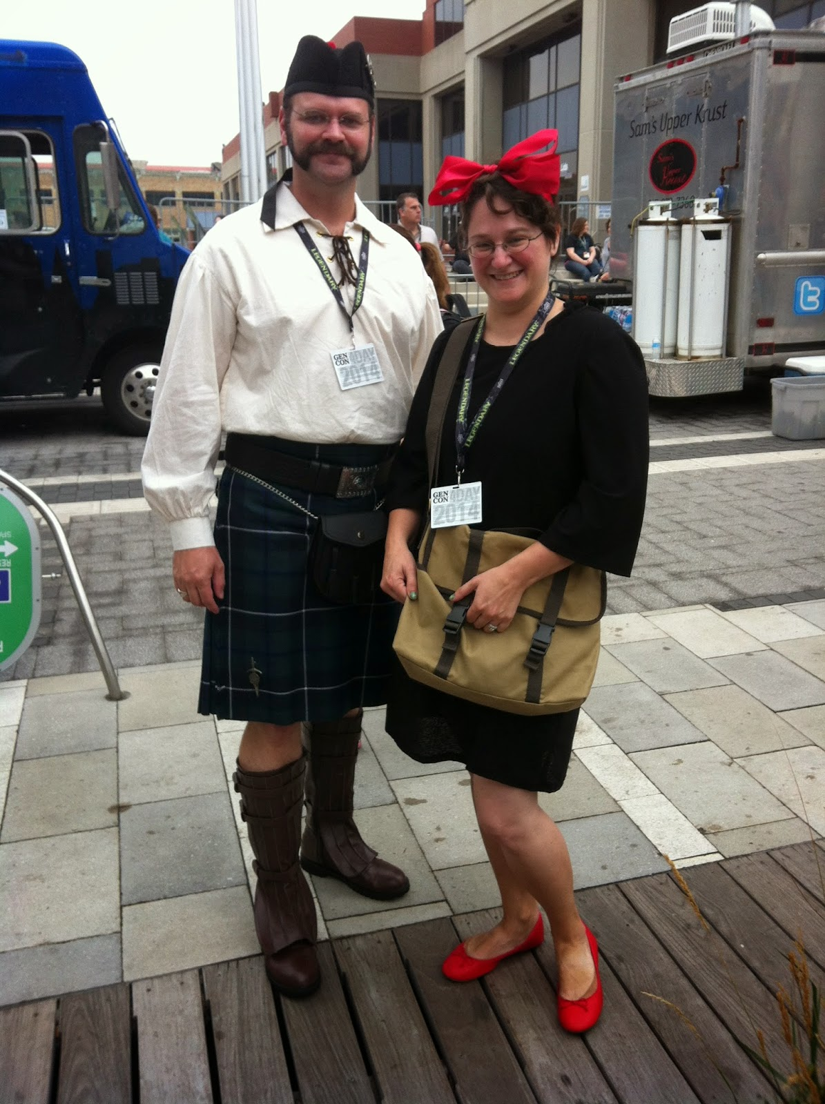Chris in his kilt, dressed as a Scot, and me as Kiki from Kiki's Delivery Service