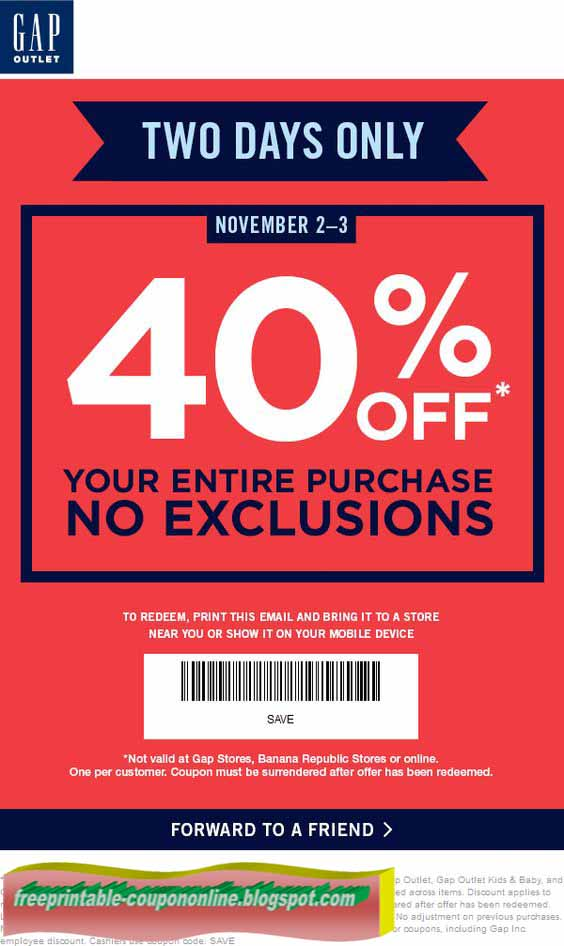 image about Gap Factory Printable Coupon titled Hole outlet printable discount codes / August 2018 Sale