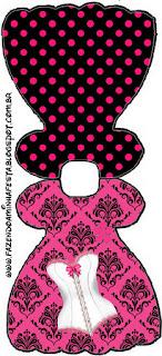 Invitacion en forma de Vestido para Imprimir Gratis de Lencería en Rosa.