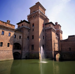 The Castello Estense, built in the later years of the 14th century, dominates the centre of Ferrara