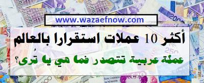 ترتيب العملات حسب سعر الصرف - أكثر 10 عملات استقرارا بالعالم | اقوى عملة بالعالم | وظائف ناو