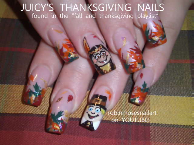 Nail Art By Robin Moses Thanksgiving Nail Art Long Nail Art