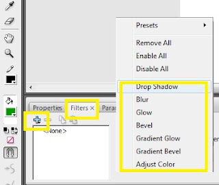 CARA ADD - DELETE - SAVE PRESET  EFEK FILTER DI ADOBE FLASH