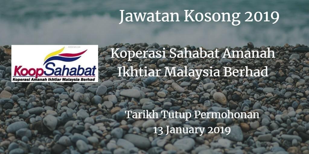 Jawatan Kosong Koperasi Sahabat Amanah Ikhtiar Malaysia Berhad 13 January 2019