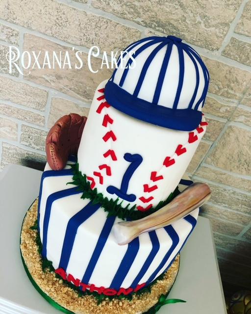 Fabulous Baking With Roxanas Cakes 1St Birthday Cake Baseball Themed Funny Birthday Cards Online Necthendildamsfinfo