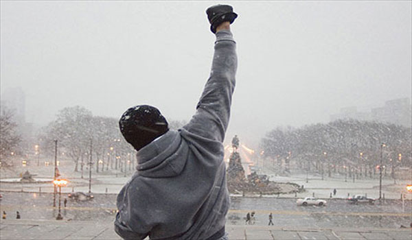 Rocky on the Art Museum steps in Rocky Balboa.