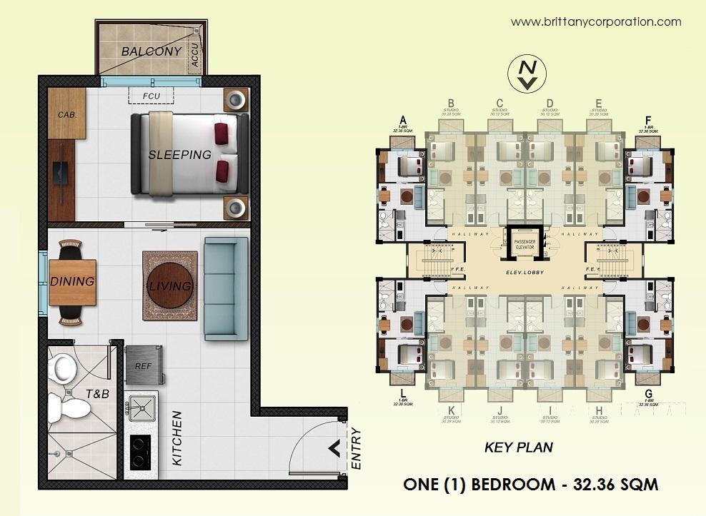 Floor Plan of Alpine Villas at Crosswinds - One Bedroom Unit | One Bedroom Unit Condominium Unit for Sale Tagaytay