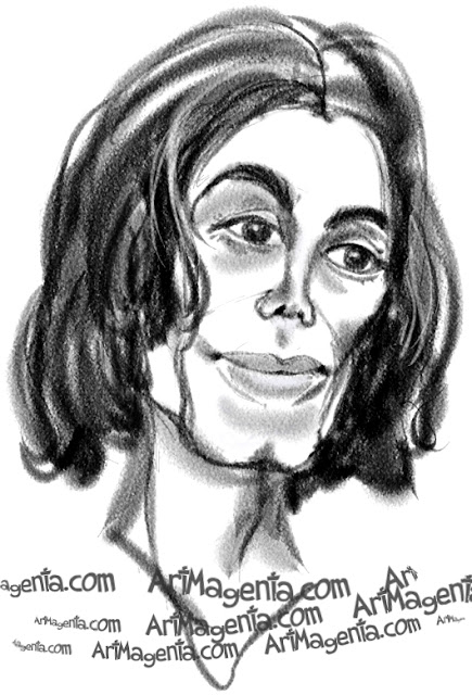 Michael Jackson caricature cartoon. Portrait drawing by caricaturist Artmagenta.