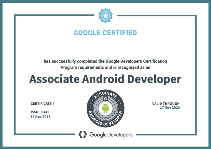 شهادة Developing Android Apps