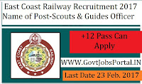 East Coast Railway Recruitment 2017 –Scouts & Guides Quota Officer