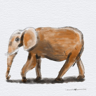 Work in Progress watercolour elephant by Clare Walker: elephant is muddy and brown.