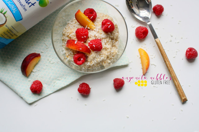 Vibrant summer peach and raspberry oatmeal with coconut milk from Anyonita Nibbles