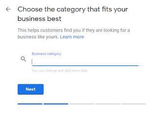 Langkah selanjutnya pilih kategori bisnis anda. Disana banyak sekali pilihannya, tinggal sesuaikan saja dengan bisnis anda. Sebagai contoh Apabila bisnis anda bergerak dibidang web desainer silahkan pilih web designer (sesuaikan saja). Jika sudah, Lalu Next