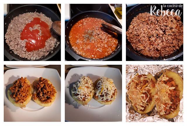 Receta de patatas asadas rellenas de carne picada 02