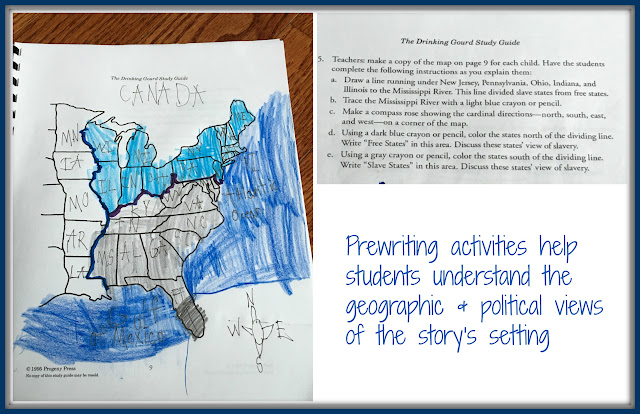 Prewriting activities help students understand the geographic and political views of the story's setting