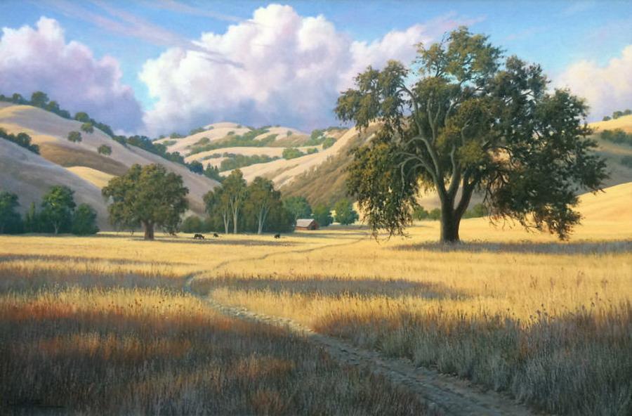 Im genes arte pinturas paisajes con casas de campi a y - Paisajes de casas de campo ...