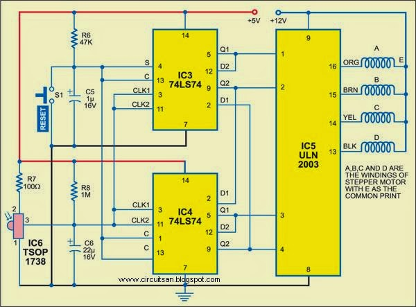 Wireless Stepper Motor Controllers Circuit Diagram