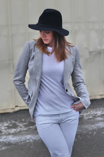 Blazer and tee outfit