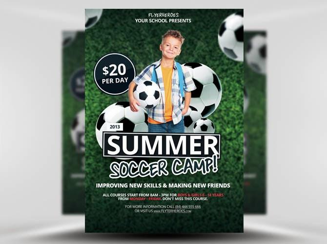Free Summer / Soccer Camp Flyer Template PSD