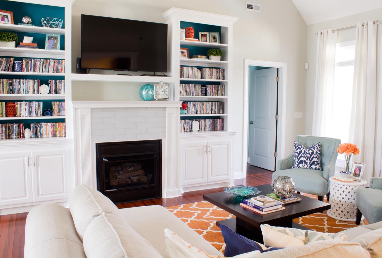 Orange and Mineral Blue Living Room Design
