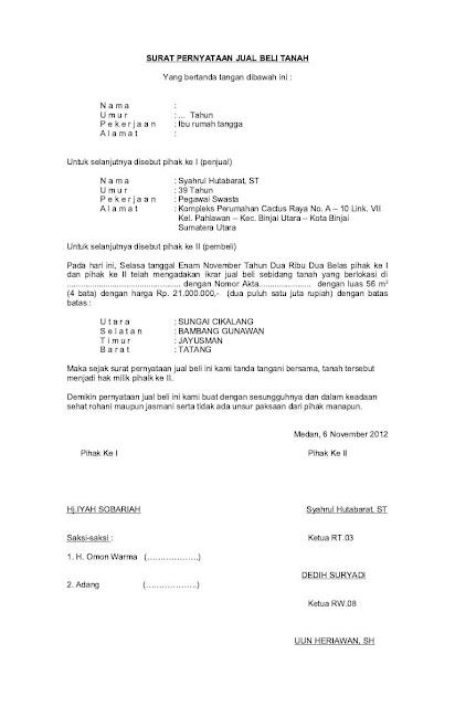 Contoh Surat Jual Beli Tanah Kebun Doc Suratmenyuratnet