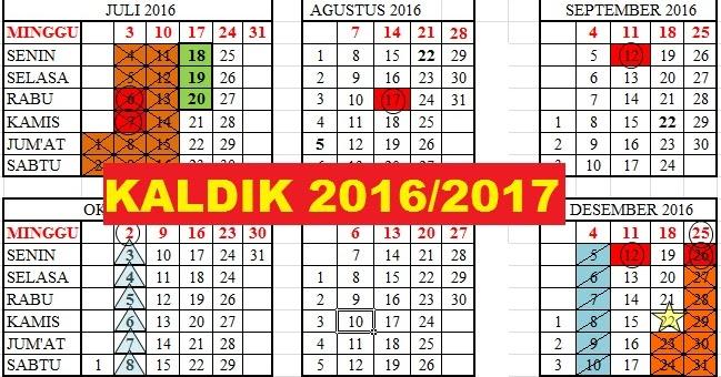 Kalender Pendidikan 2016 2017 Lengkap Dengan Rincian