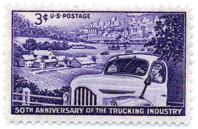 A photo of purple 1953 US trucking stamp