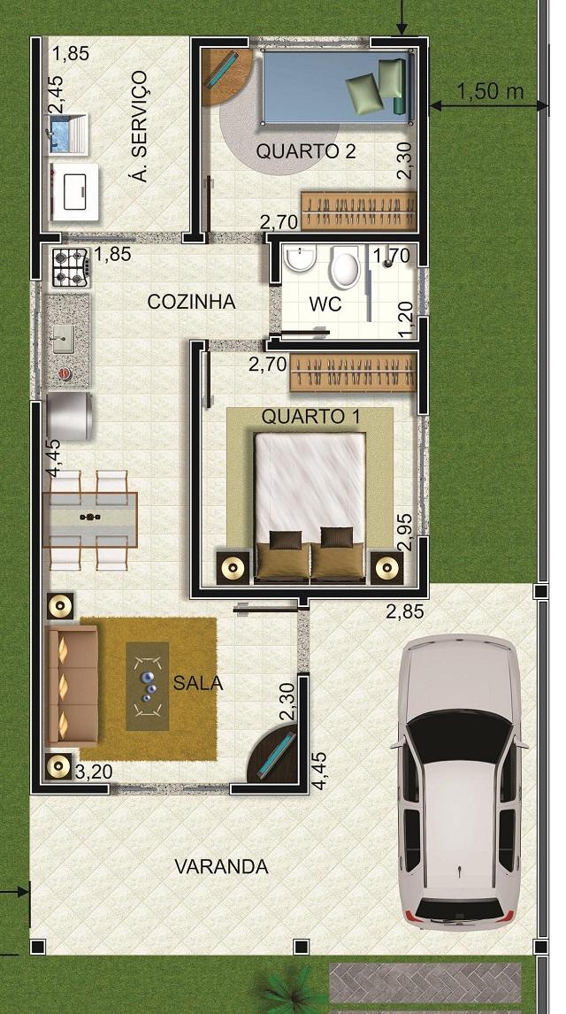 Plano de casa con cochera y dos dormitorios planos de for Planos de casas de dos dormitorios