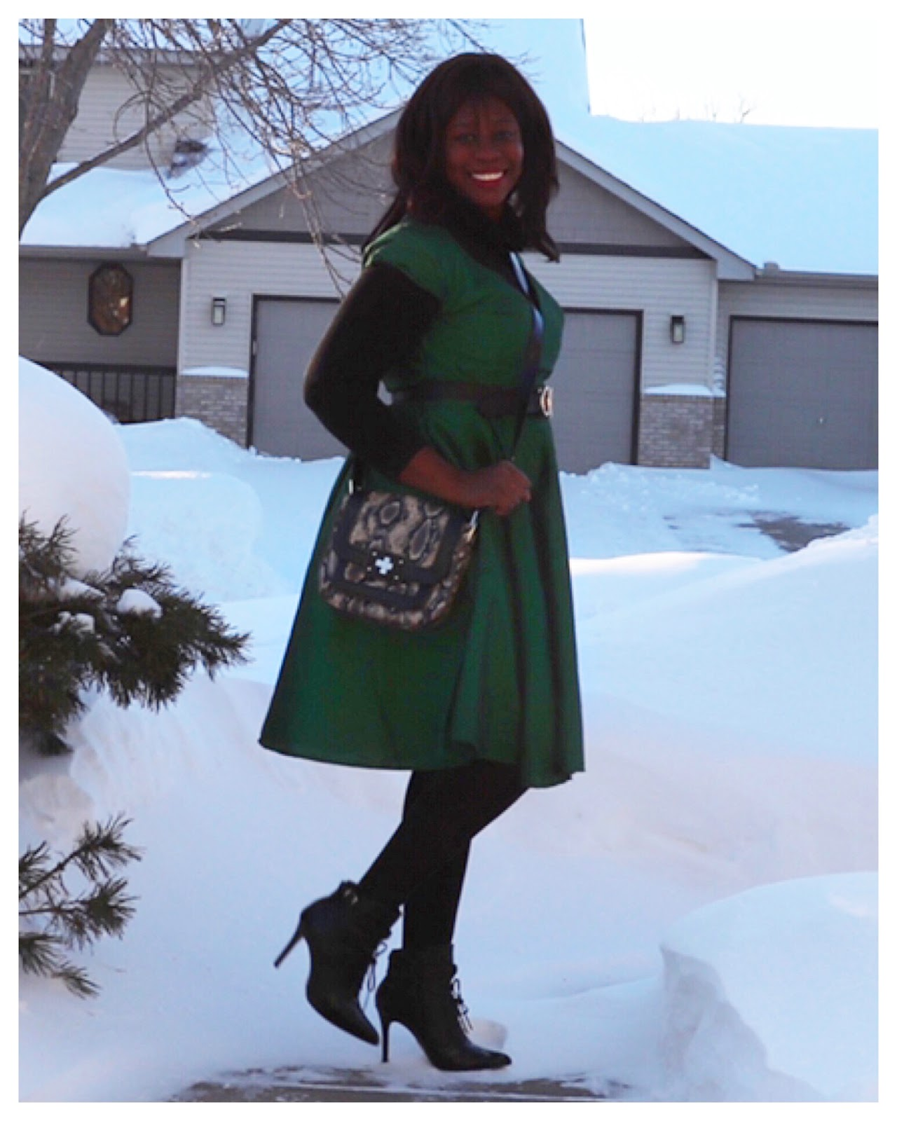 Beauty's Fashion Zone: Green Dupioni Midi Dress + Ankle Boots
