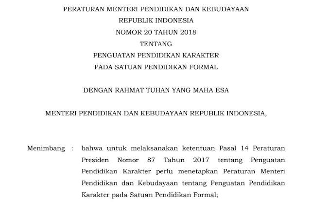 Permendikbud No 20 Tahun 2018