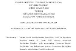 Permendikbud No 20 Tahun 2018 Tentang Penguatan Pendidikan Karakter Pada Satuan Pendidikan Formal