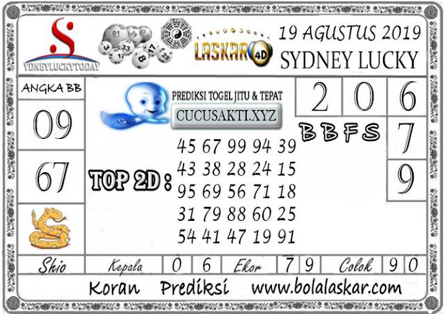 Prediksi Togel Sydney Lucky Today LASKAR4D 19 AGUSTUS 2019