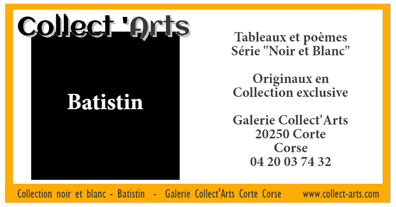 Poemes et Peintures Collection Noir et Blanc Batistin Collect'Arts