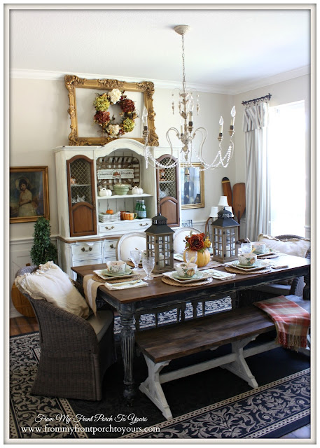 Fall Vignette-French Country- Farmhouse-Fall Dining Room-From My Front Porch To Yours