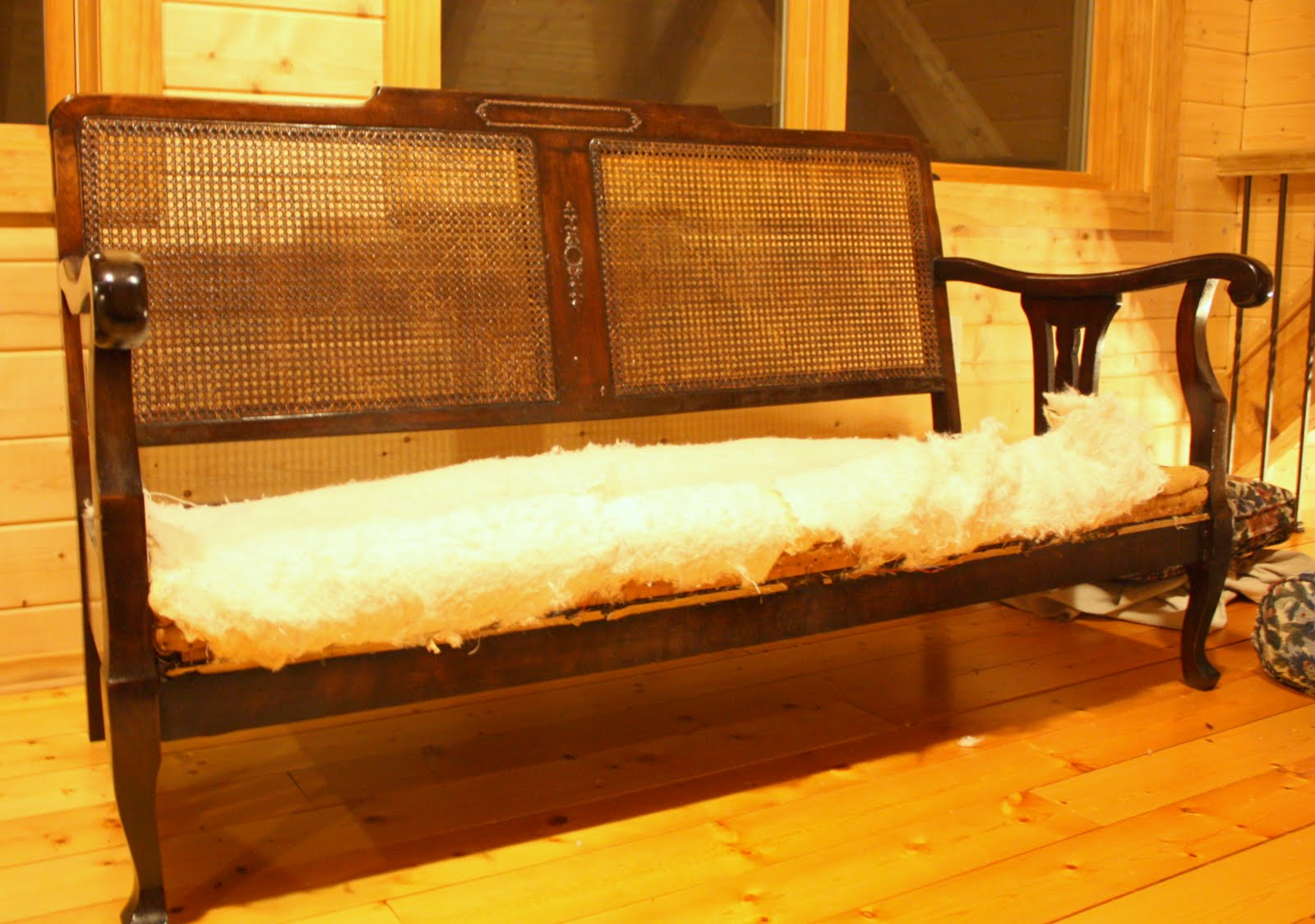 1930 Cane Back Sofa Black Leather Pillows Antique Furniture Foter Thesofa